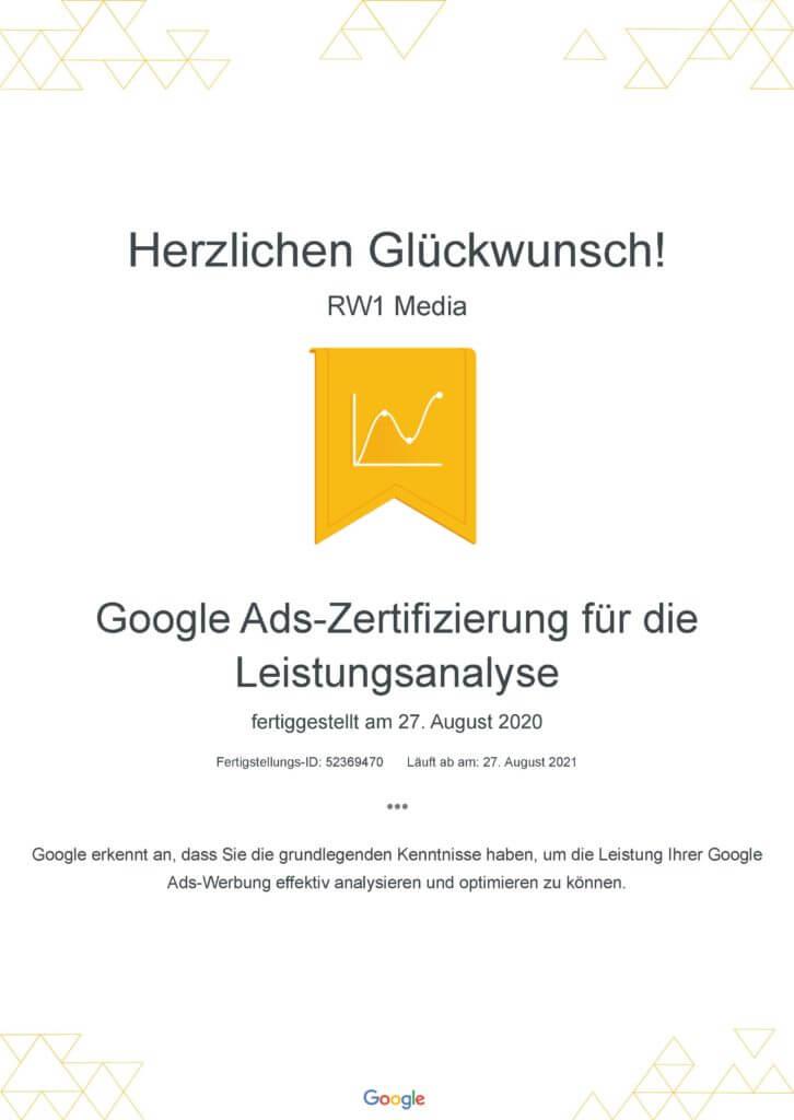 Google Ads-Zertifizierung für die Leistungsanalyse _ Google