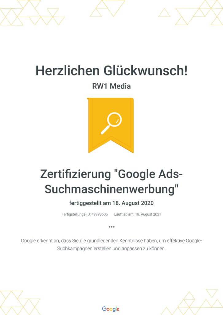 Zertifizierung _Google Ads-Suchmaschinenwerbung_ _ Google